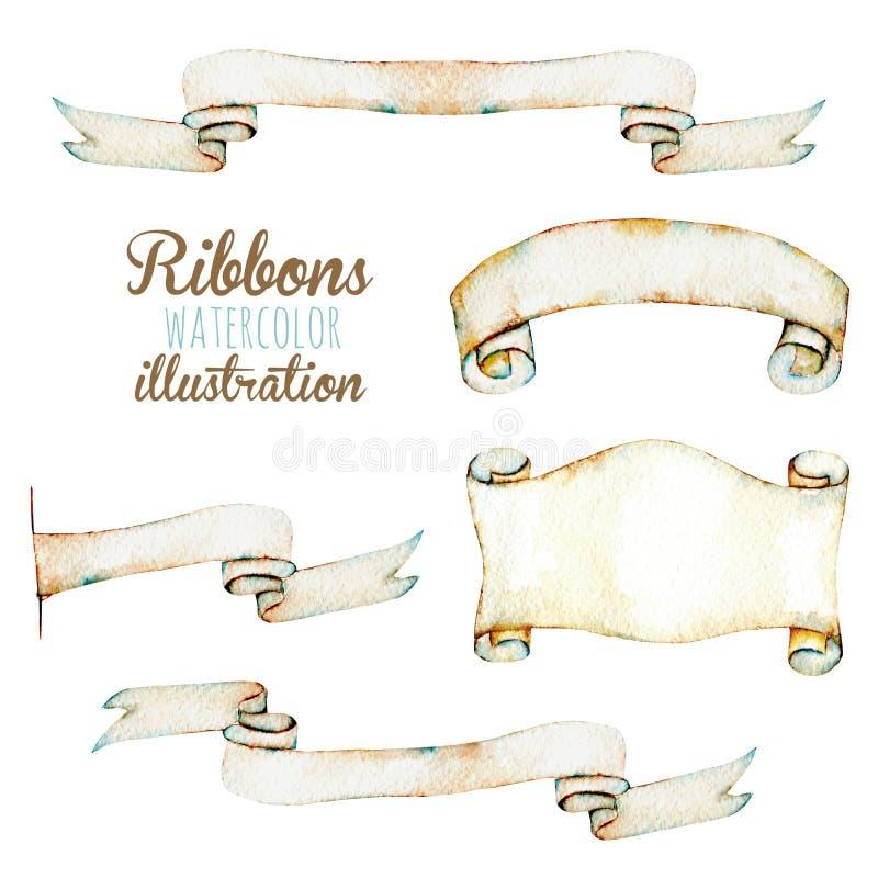Reeks, inzameling van waterverfdocument uitstekende linten royalty-vrije illustratie