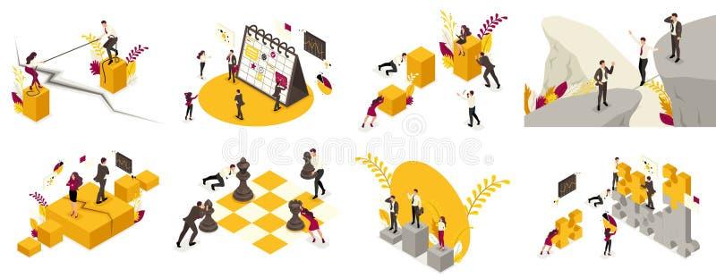 Reeks Isometrisch van het concept bedrijfsprocessen voor wereldoverheersing, de rekrutering van personeel voor het bevel, menings vector illustratie