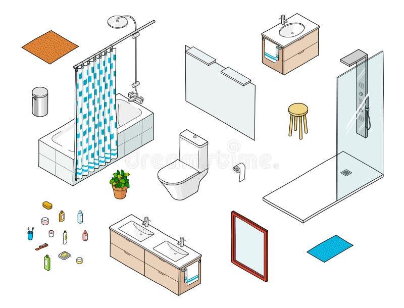 Reeks isometrische badkamerselementen met inbegrip van douche, bathtube, spiegel, wasbak stock illustratie