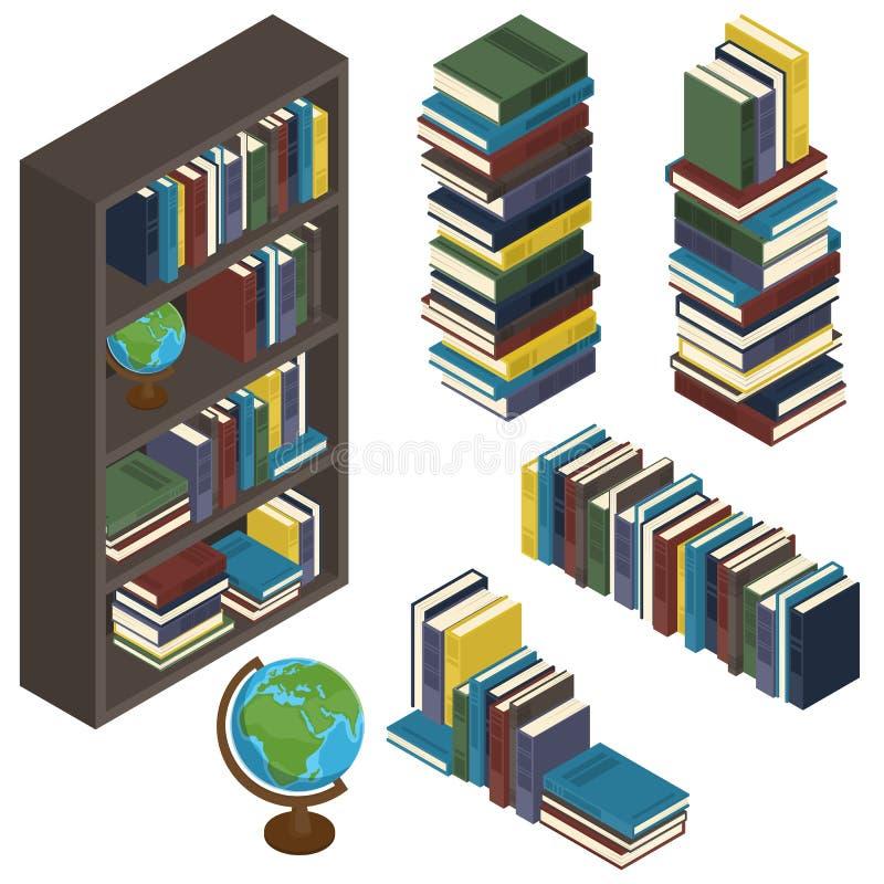 Reeks isometrische boeken op een rij, stapel, in een geïsoleerde boekenkast vector illustratie