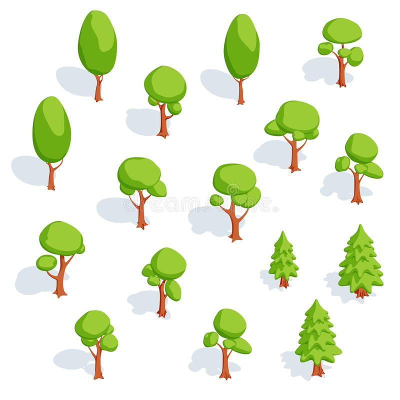 Reeks isometrische bomen Vergankelijk en net vector illustratie
