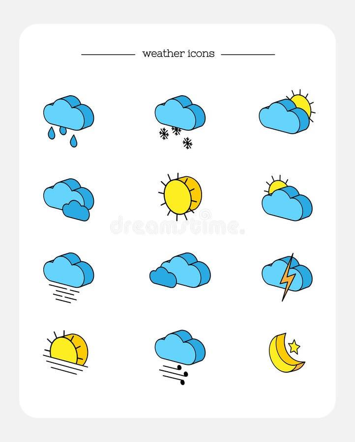 Reeks isometrische die 3d pictogrammen van weervoorspelling, met overzicht worden gekleurd stock illustratie