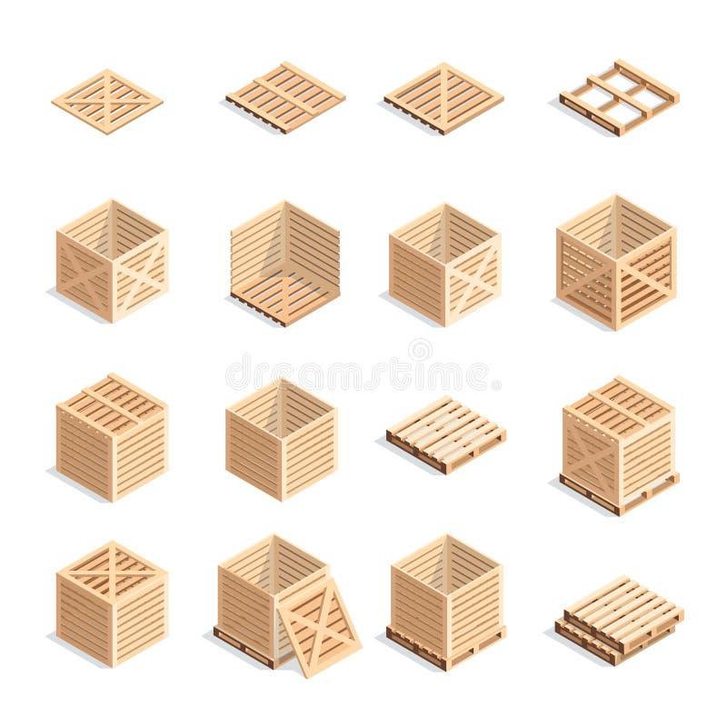 Reeks isometrische houten dozen en pallets stock illustratie