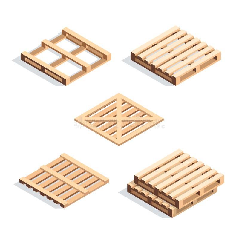 Reeks isometrische houten pallets royalty-vrije illustratie