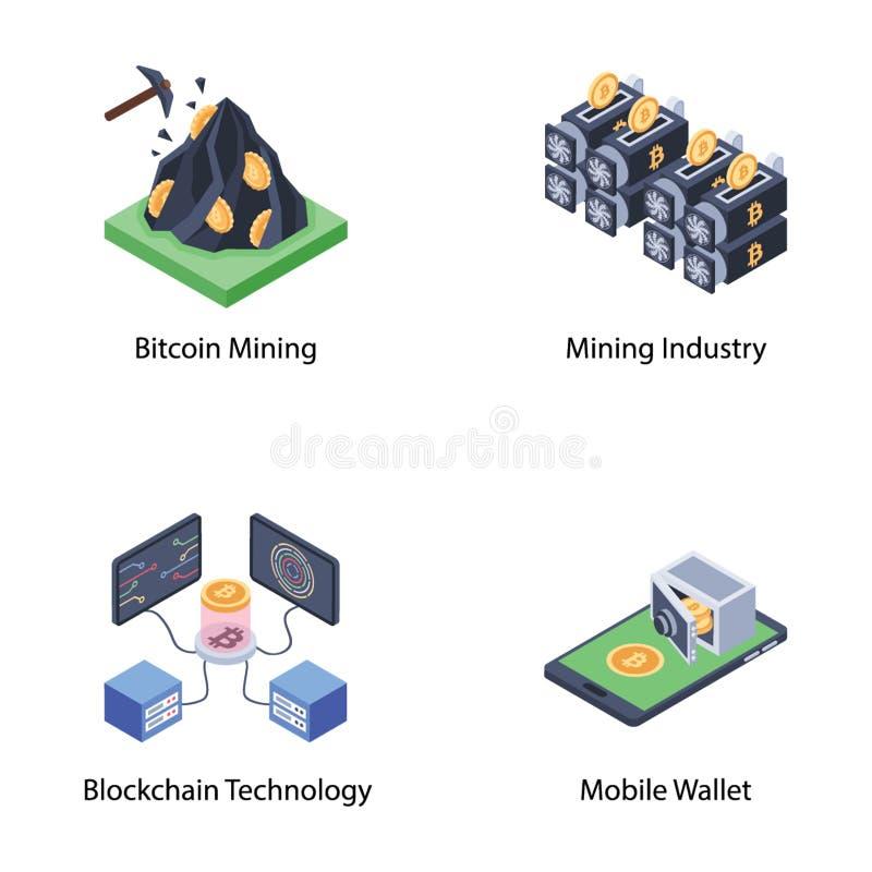 Reeks Isometrische Pictogrammen Veilige Bitcoin royalty-vrije illustratie