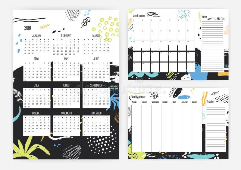 Reeks jaar 2018 kalender, maand en wekelijkse ontwerpersmalplaatjes met kleurrijke punten, vlekken, vlekken en verfsporen  stock illustratie