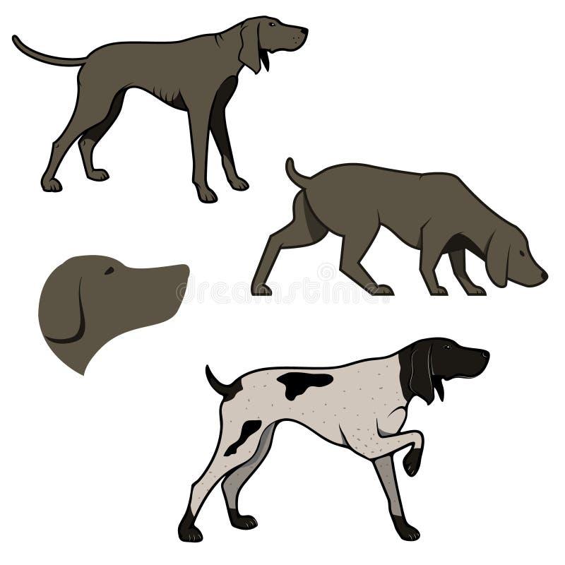 Reeks jachthondenillustraties vector illustratie