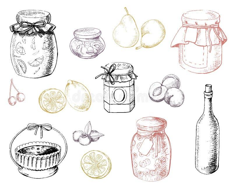 Reeks jam en vruchten vector illustratie