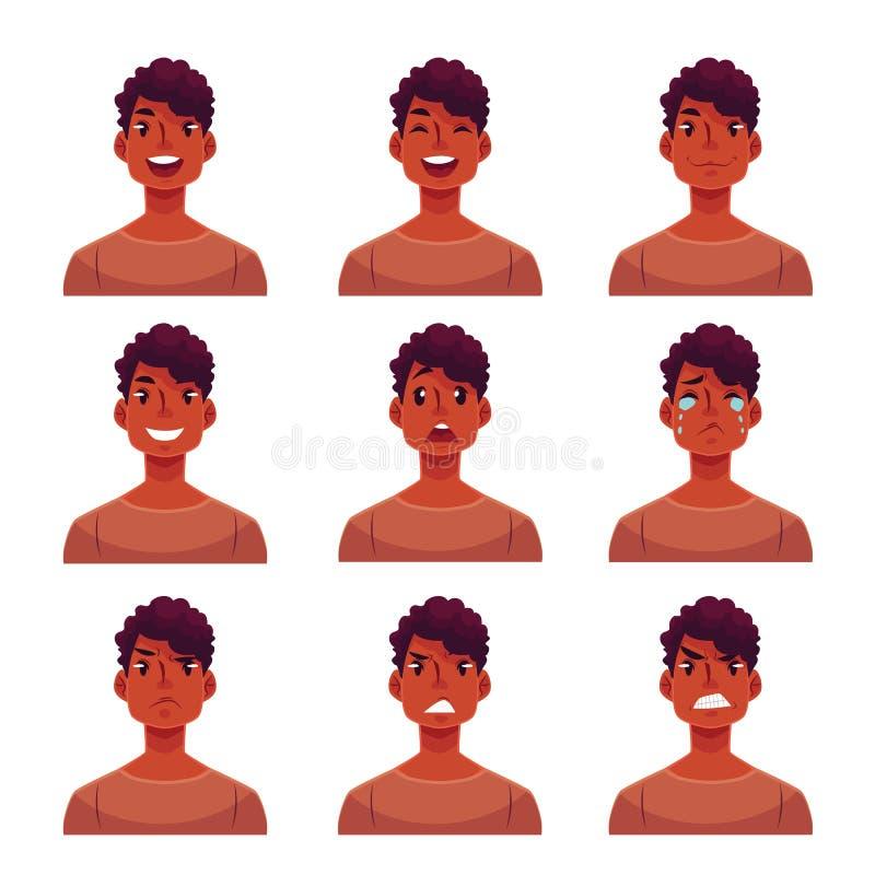 Reeks jonge Afrikaanse de uitdrukkingsavatars van het mensengezicht stock illustratie