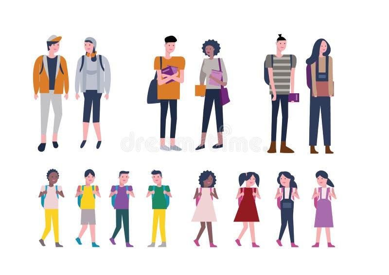 Reeks jonge geitjes en Jongeren terug naar school Student Character D royalty-vrije illustratie