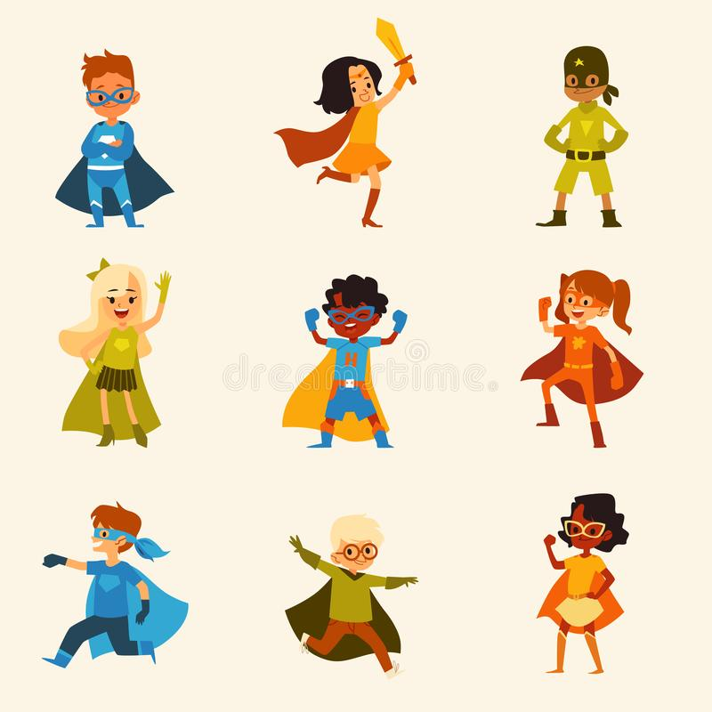 Reeks jonge geitjeskarakters in kleurrijke het beeldverhaalstijl van superherokostuums royalty-vrije illustratie