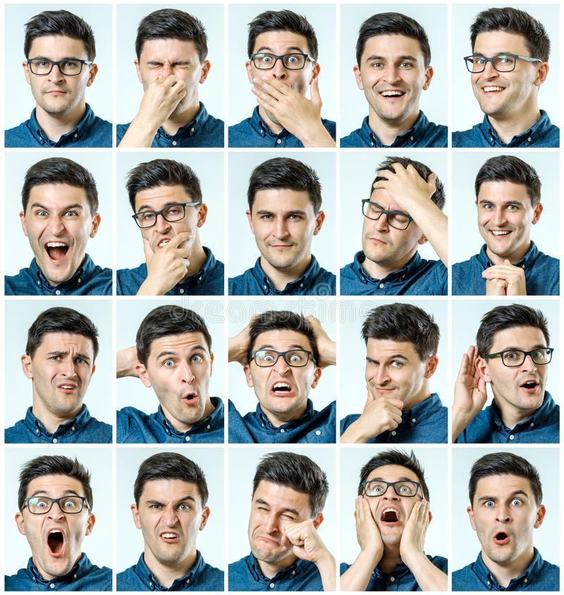 Reeks jonge mensen` s portretten met verschillende emoties royalty-vrije stock afbeeldingen