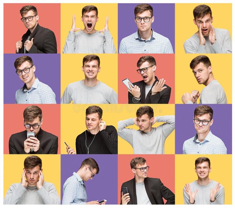 Reeks jonge mensen` s portretten met verschillende emoties stock afbeeldingen