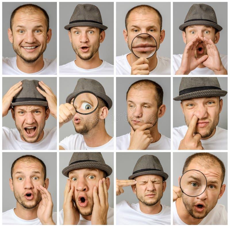 Reeks jonge mensen` s portretten met verschillende emoties en gebaren stock afbeeldingen