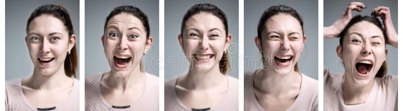 Reeks jonge vrouwen` s portretten met verschillende gelukkige emoties royalty-vrije stock afbeeldingen