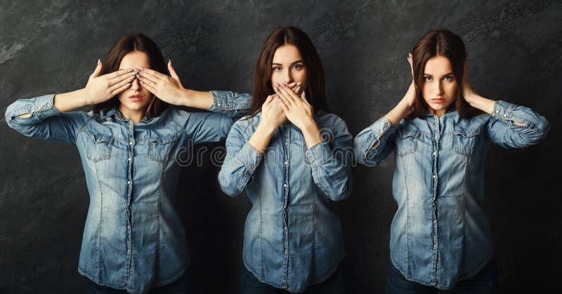 Reeks jonge vrouwenportretten bij grijze achtergrond royalty-vrije stock afbeelding