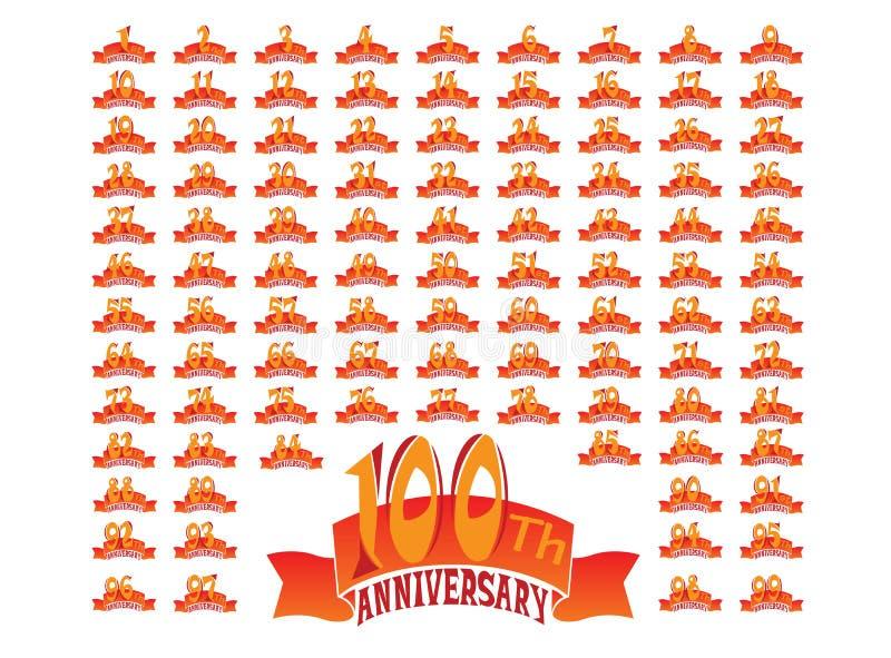 Reeks jubileumbadges die banners 1 tot 100 ontwerpen illustreren op een witte achtergrond stock foto's