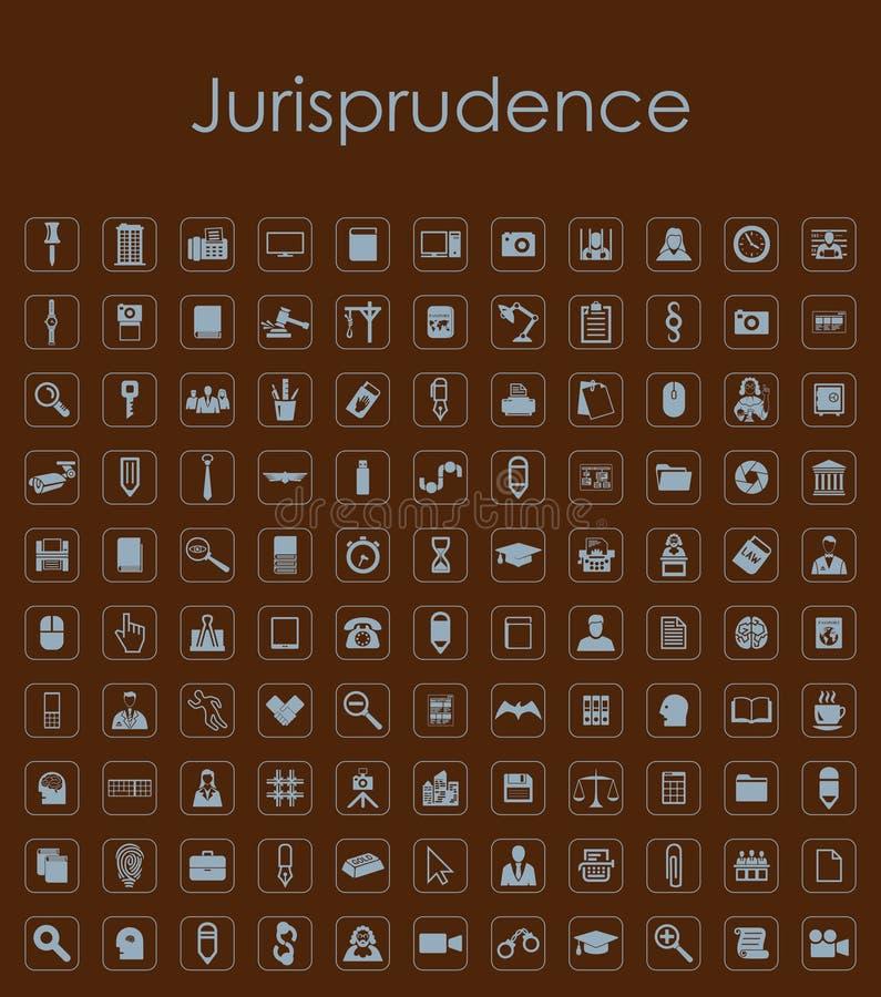 Reeks jurisprudentie eenvoudige pictogrammen stock illustratie