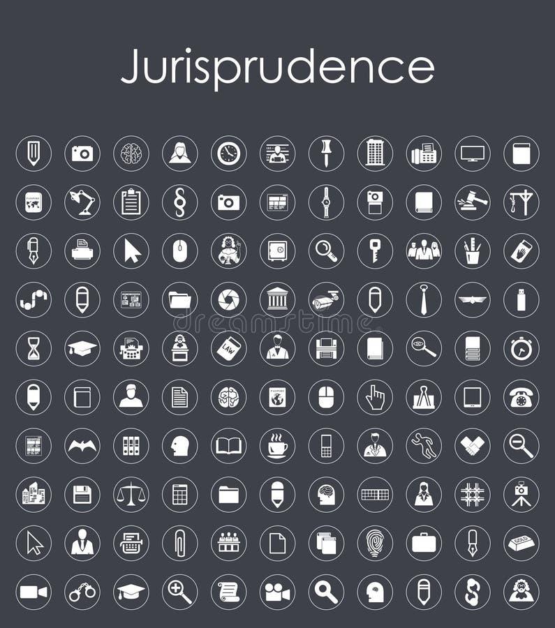 Reeks jurisprudentie eenvoudige pictogrammen royalty-vrije illustratie