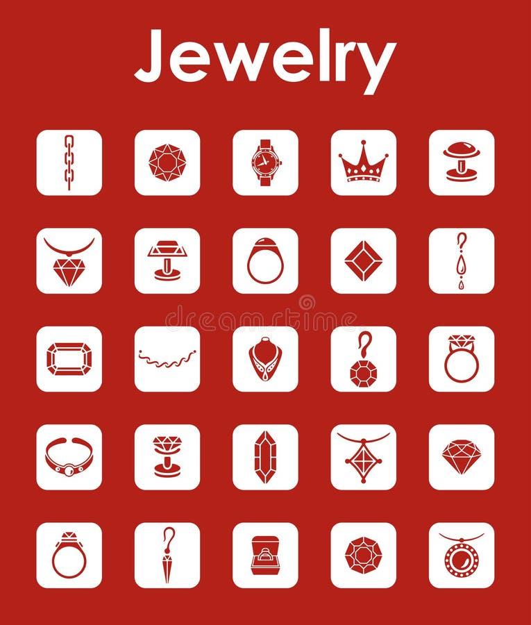 Reeks juwelen eenvoudige pictogrammen stock illustratie