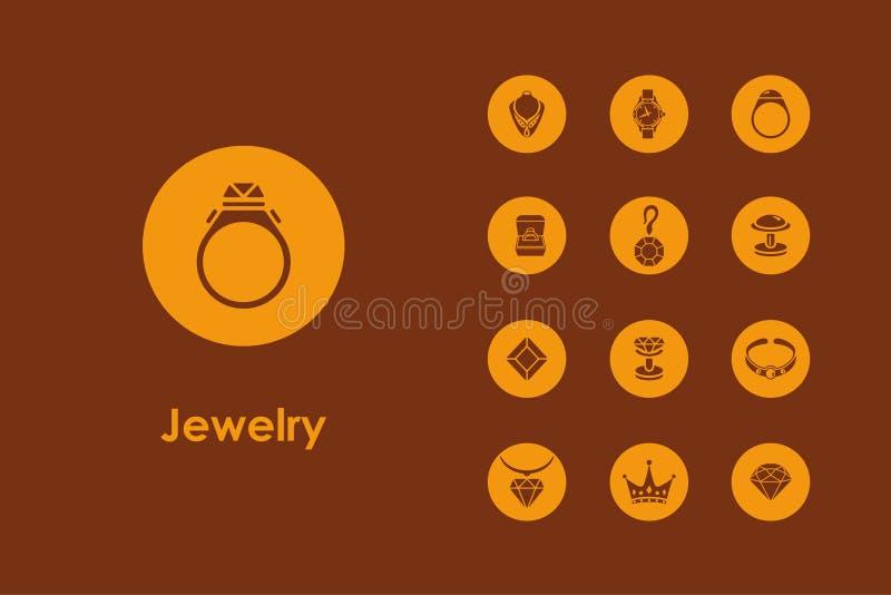 Reeks juwelen eenvoudige pictogrammen royalty-vrije illustratie
