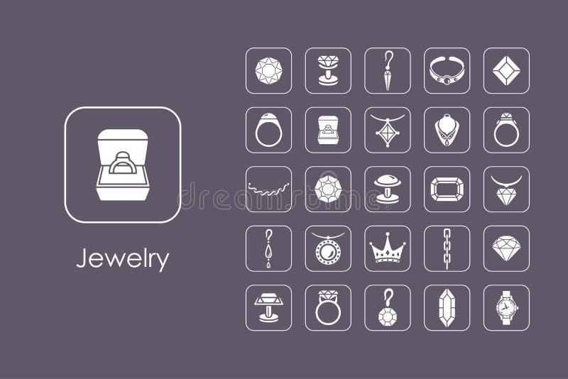 Reeks juwelen eenvoudige pictogrammen vector illustratie