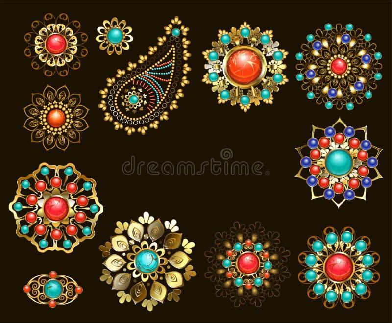 Reeks juwelen etnische broches vector illustratie