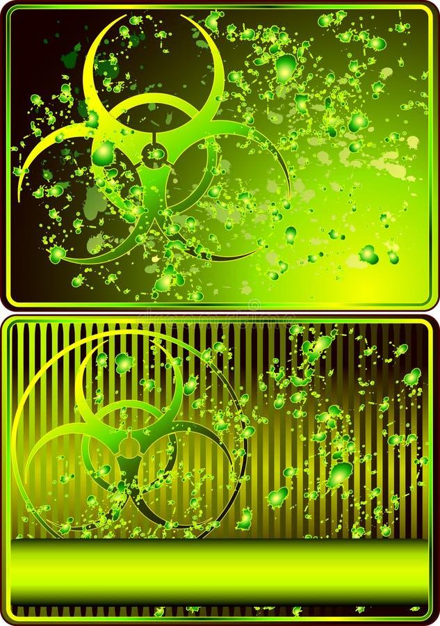 Reeks kaarten met biohazardteken royalty-vrije illustratie