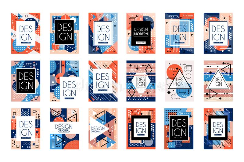 Reeks kaarten met kleurrijk helder abstract geometrisch ontwerp met plaats voor tekst De stijl van Memphis Modieuze groeten stock illustratie