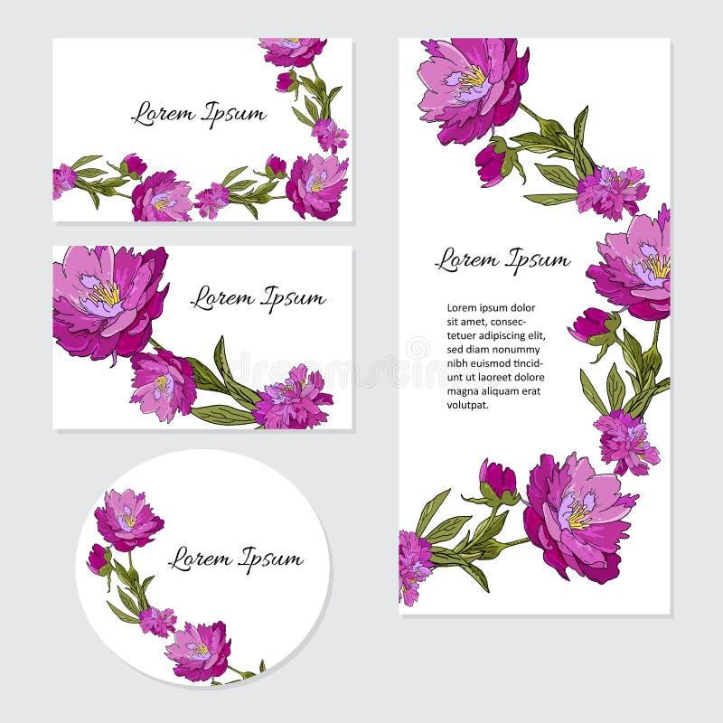 Reeks kaarten met pioenbloemen Het concept van het huwelijksornament Botanische bloemenkaarten royalty-vrije illustratie