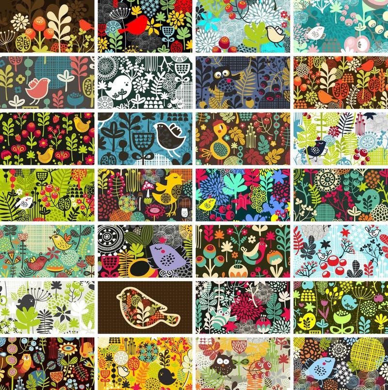 Download Reeks Kaarten Met Vogels En Bloemen. Vector Illustratie - Illustratie bestaande uit leuk, volks: 39104422
