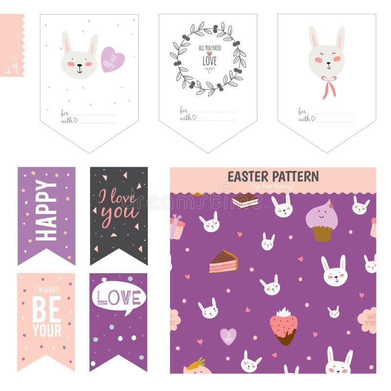Reeks kaarten, nota's en stickers met leuk vector illustratie
