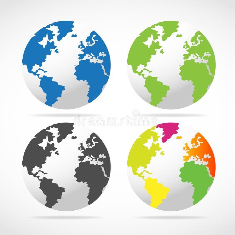Reeks Kaarten van de Bol van de Wereld royalty-vrije illustratie