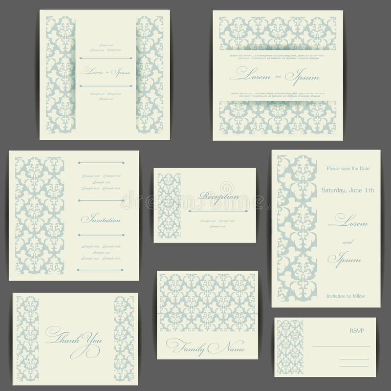 Reeks kaarten van de huwelijksuitnodiging vector illustratie