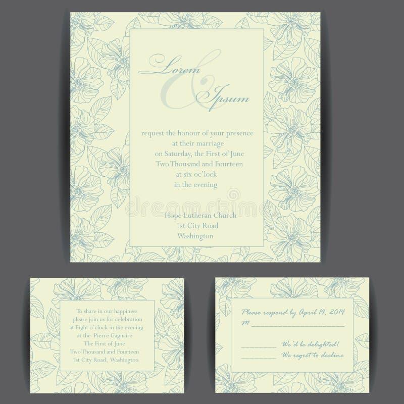 Reeks kaarten van de huwelijksuitnodiging stock illustratie