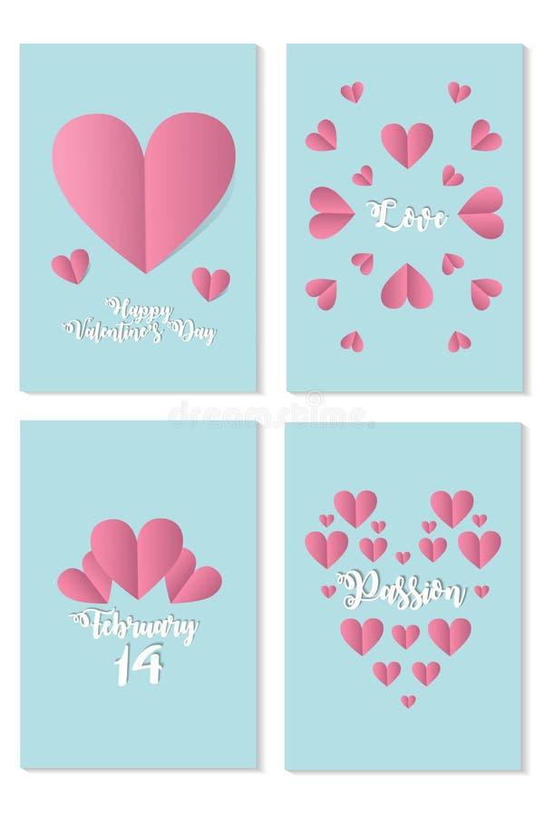Reeks kaarten voor st Valentine dag met roze harten over blauwe achtergrond stock illustratie