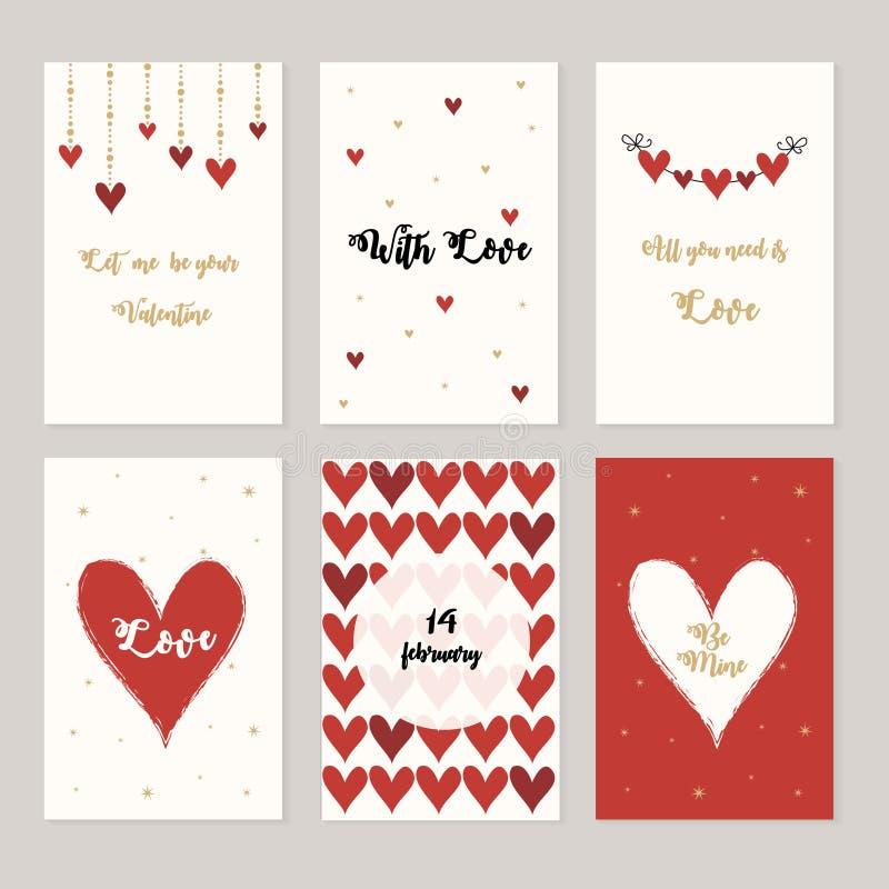 Reeks kaarten voor st Valentine dag Rode en witte harten, liefdebrieven vector illustratie
