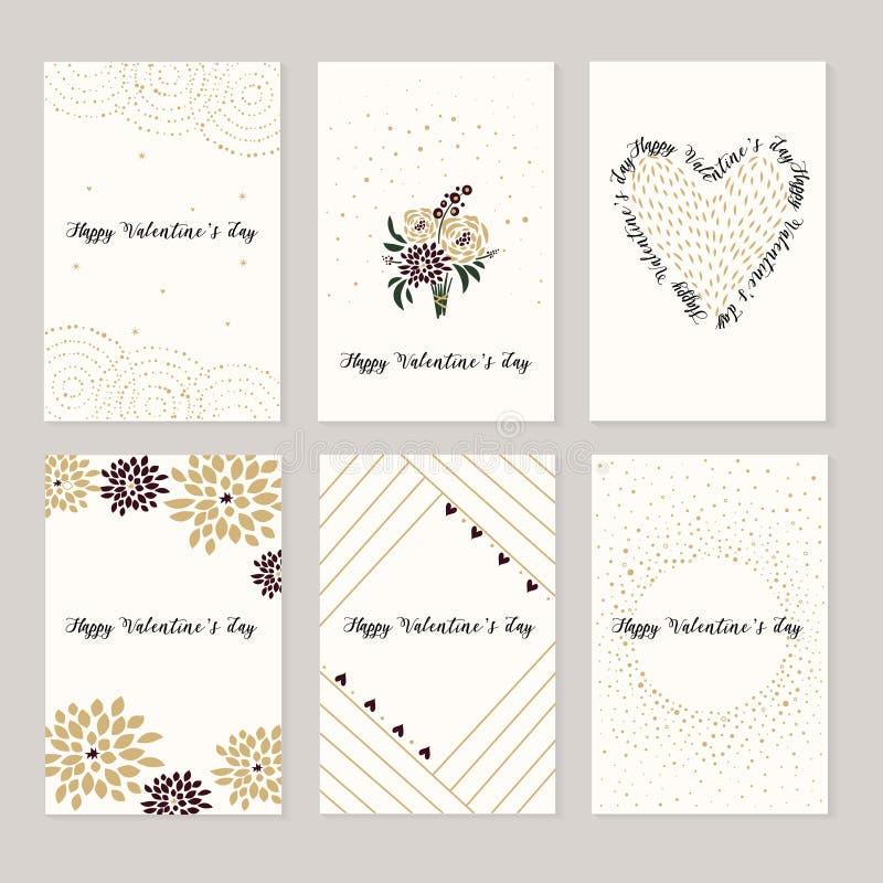 Reeks kaarten voor st Valentine dag Rode en witte harten, liefdebrieven royalty-vrije illustratie