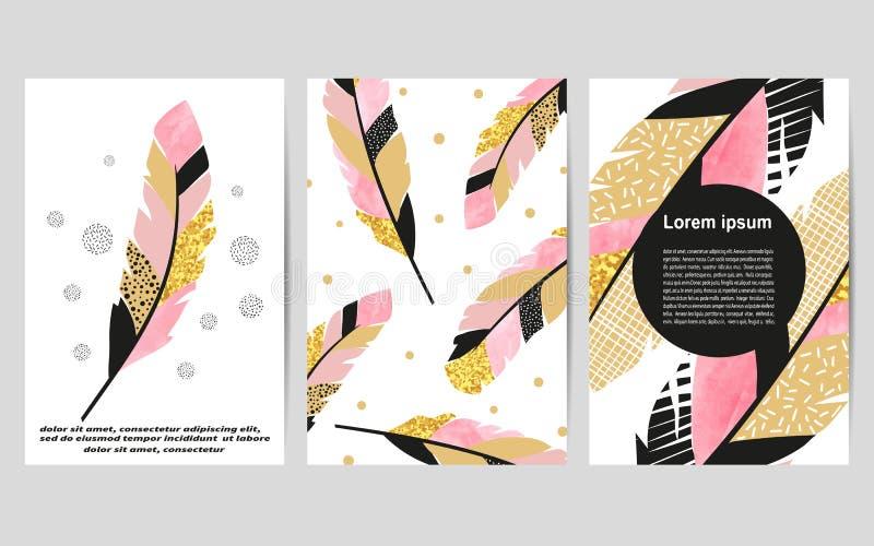 Reeks kaartmalplaatjes met veren voor affiches, vliegers, uitnodigingen royalty-vrije illustratie