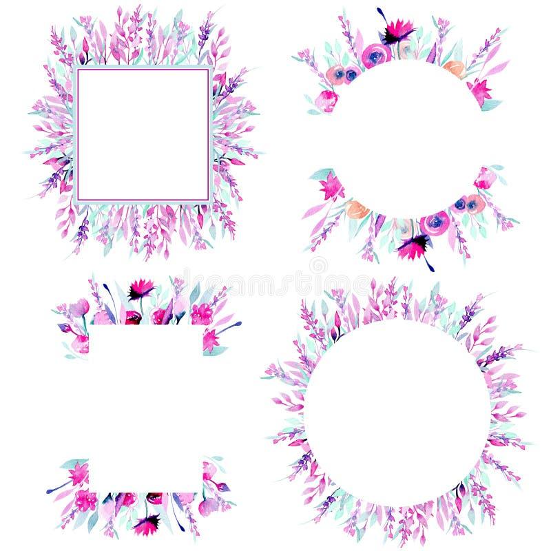 Reeks kadergrenzen met eenvoudige waterverf roze wildflowers en lavendel vector illustratie