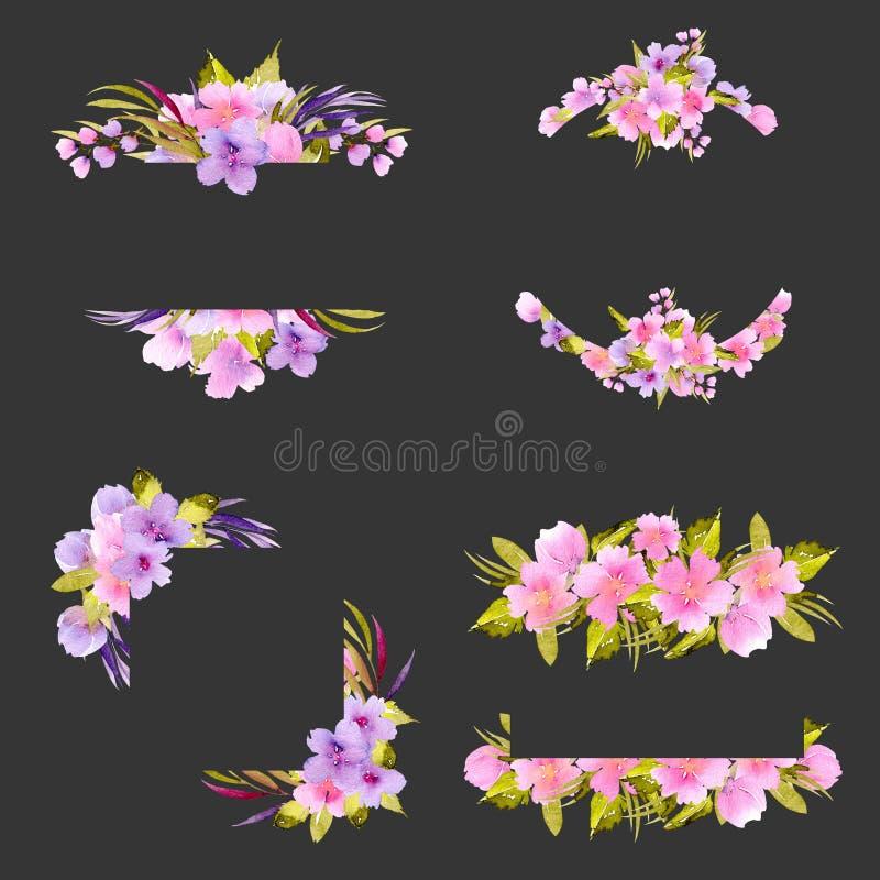 Reeks kadergrenzen met roze en purpere kleine wildflowers en groene installaties royalty-vrije illustratie
