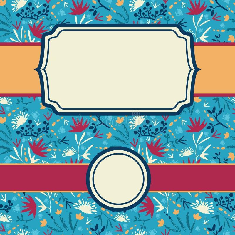 Reeks kaders met samenvatting geschilderde bloemen royalty-vrije illustratie