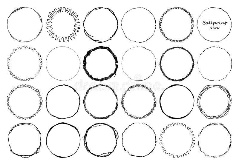 Reeks kaders van de krabbelcirkel met potloodeffect De vormsilhouet van schade rond grunge Cirkel verontruste grunge textuur vector illustratie