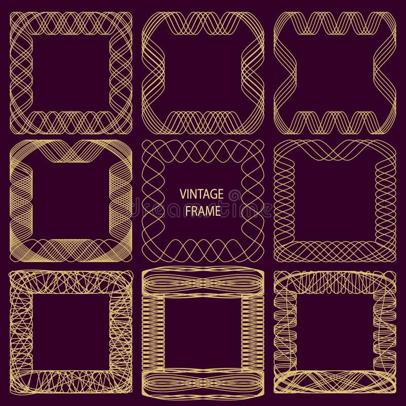 Reeks kaders van fijne lijnen in uitstekende stijl Gouden overladen spirographic patroon op een donkere lilac achtergrond stock illustratie