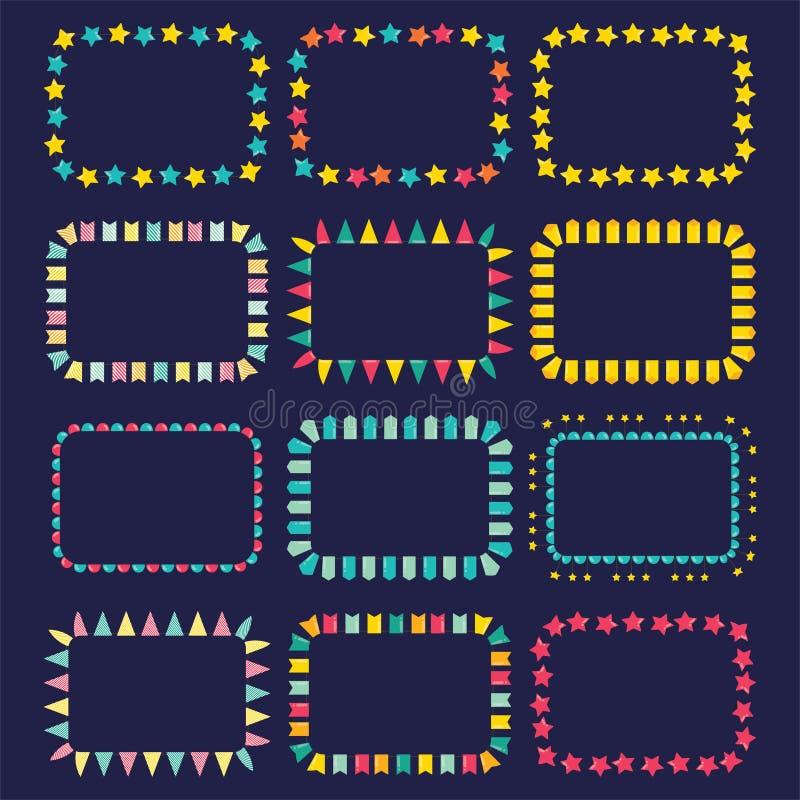 Reeks kaders van slingers Vector illustratie royalty-vrije stock afbeeldingen