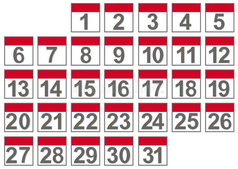 Reeks kalenderdossiers stock illustratie
