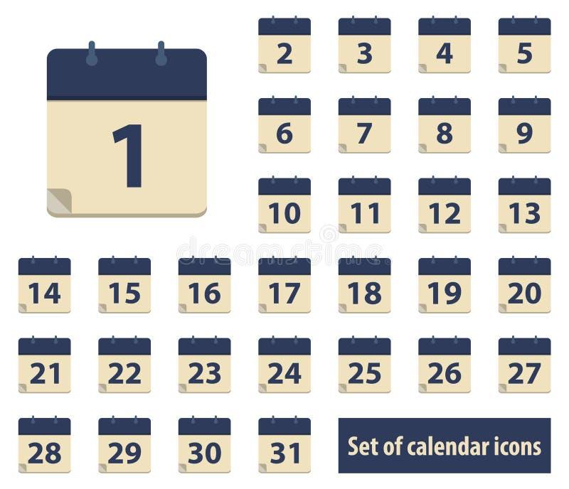 Reeks kalenderpictogrammen met data van 1 tot 31 royalty-vrije stock afbeelding