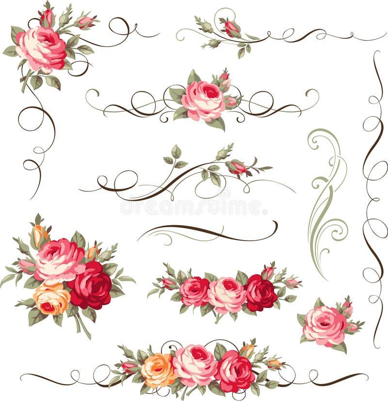 Reeks kalligrafische bloemenelementen Ornament met uitstekende rozen voor paginadecor royalty-vrije illustratie