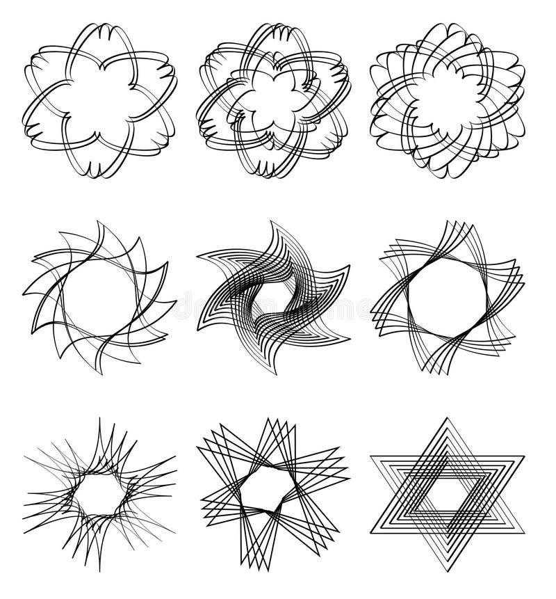 Reeks kalligrafische vormen van de ontwerpster in zwart overzicht Vector eps10 vector illustratie