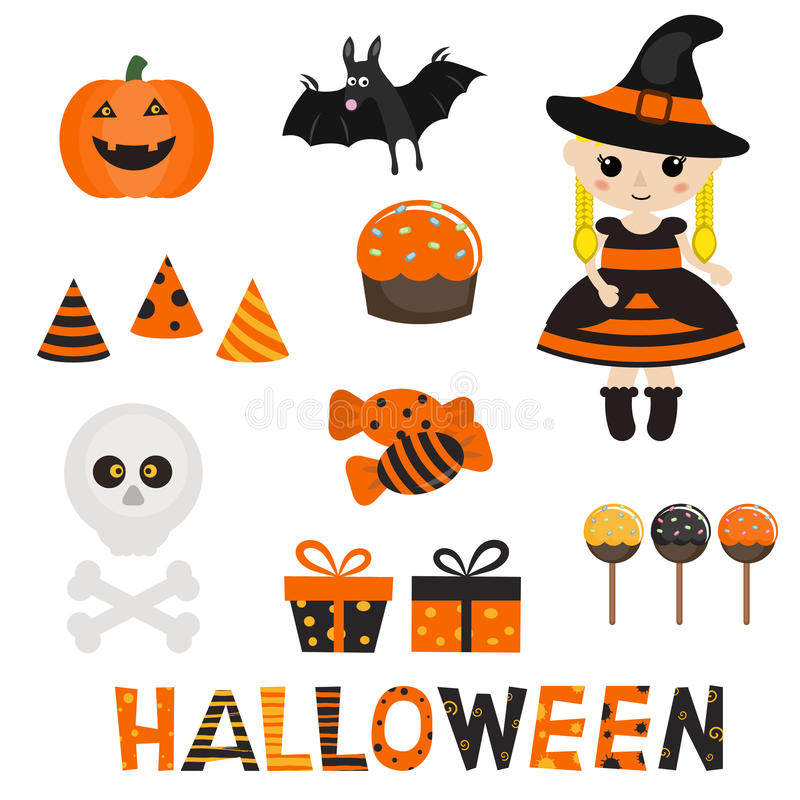 Reeks karakter en pictogrammen voor Halloween in beeldverhaalstijl royalty-vrije illustratie